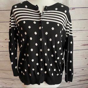 Ann Taylor Dot & Stripe Black Cardigan Size XL